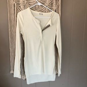 Intimately free people white ribbed long sleeve S
